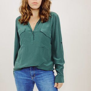 Eileen Fisher Green Silk Roll Tab Popover Top